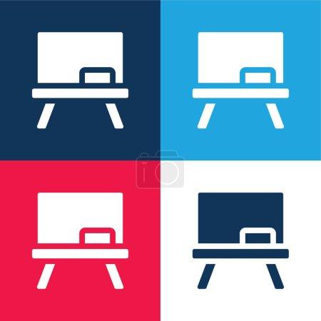 Photo pour Tableau noir bleu et rouge quatre couleurs minimum jeu d'icônes - image libre de droit