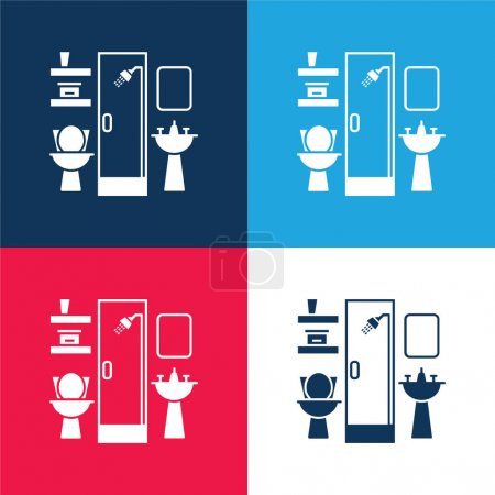 Bathroom Furniture blue and red four color minimal icon set