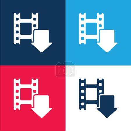 Illustration pour Flèche bleue et rouge ensemble d'icônes minimes quatre couleurs - image libre de droit