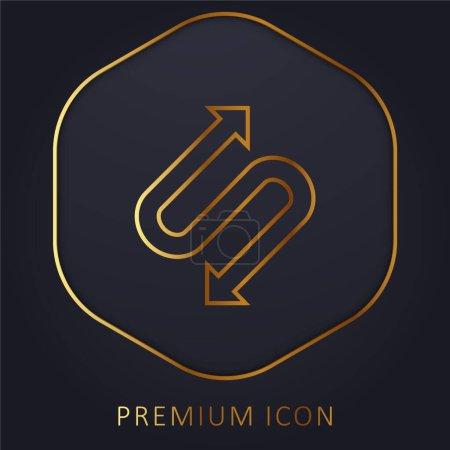 Illustration pour Flèche avec deux points en forme de S ligne d'or logo premium ou icône - image libre de droit