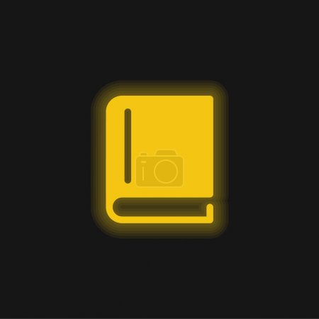 Book Of Black Cover Closed yellow glowing neon icon