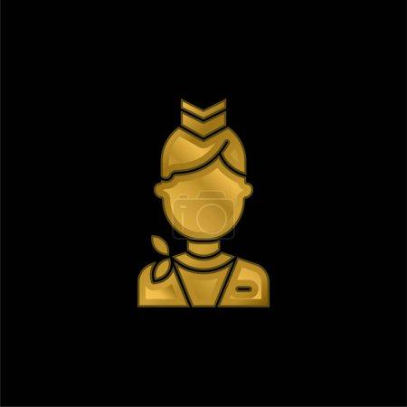 Illustration pour Hôtesse de l'air plaqué or icône métallique ou logo vecteur - image libre de droit