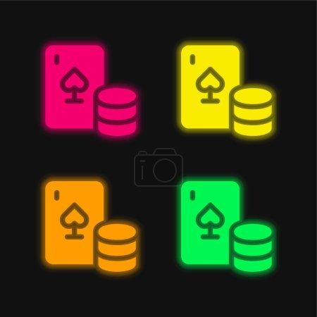 Blackjack four color glowing neon vector icon