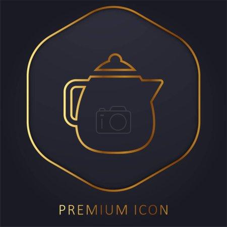 Big Teapot golden line premium logo or icon