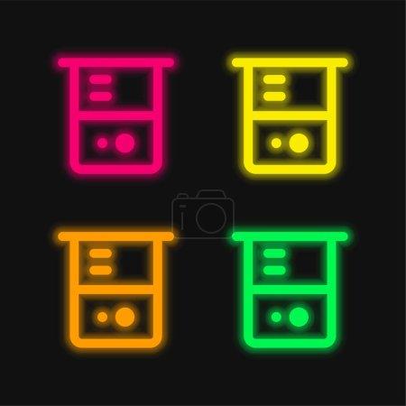 Photo pour Bécher quatre couleurs brillant icône vectorielle néon - image libre de droit