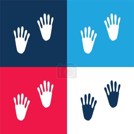 Illustration pour Empreintes d'animaux bleu et rouge quatre couleurs minimum jeu d'icônes - image libre de droit