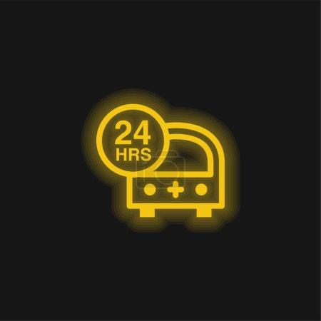Photo pour 24 Heures Ambulance d'urgence jaune brillant icône néon - image libre de droit