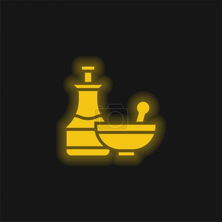 Illustration for Apothecary yellow glowing neon icon - Royalty Free Image