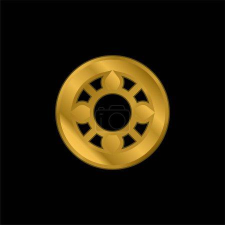Illustration pour Roulement à billes plaqué or icône métallique ou logo vecteur - image libre de droit