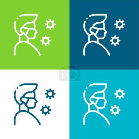 Illustration for Antivirus Flat four color minimal icon set - Royalty Free Image