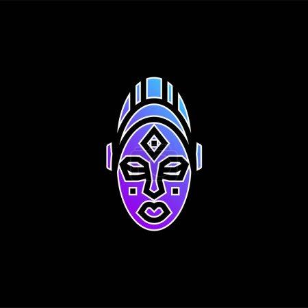 Illustration pour Masque africain icône vectorielle dégradé bleu - image libre de droit