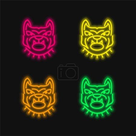Illustration pour Angry Bulldog visage Décrivez quatre couleur brillant néon vecteur icône - image libre de droit