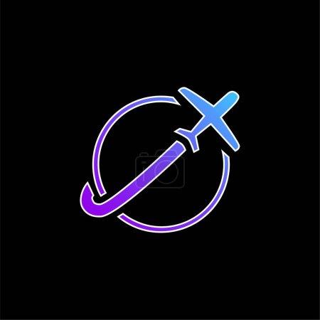 Photo pour Avion Voyageant autour de la Terre icône vectorielle gradient bleu - image libre de droit