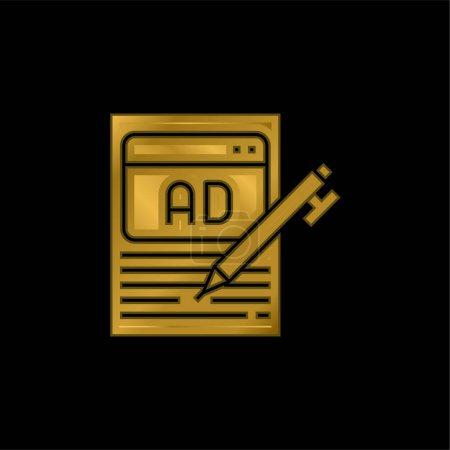 Publicité plaqué or icône métallique ou logo vecteur