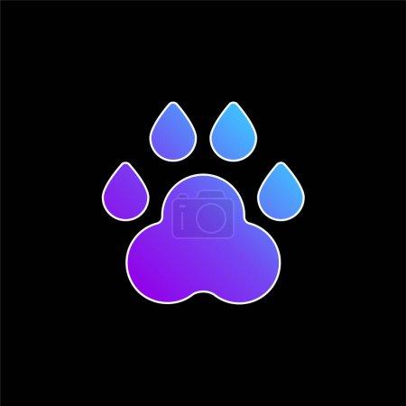 Illustration pour Animal Track icône vectorielle dégradé bleu - image libre de droit