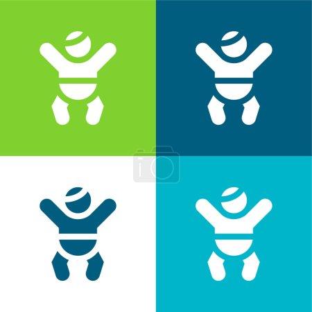 Photo pour Ensemble d'icônes minime Baby Flat quatre couleurs - image libre de droit