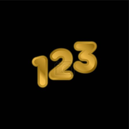 Illustration for 123 Numbers gold plated metalic icon or logo vector - Royalty Free Image