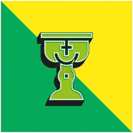 Illustration for Baptism Green and yellow modern 3d vector icon logo - Royalty Free Image