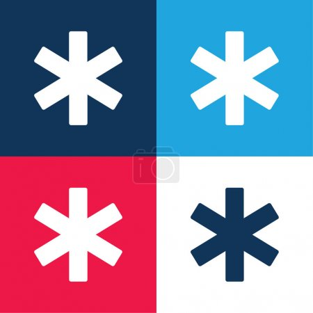 Illustration for Asterisk blue and red four color minimal icon set - Royalty Free Image