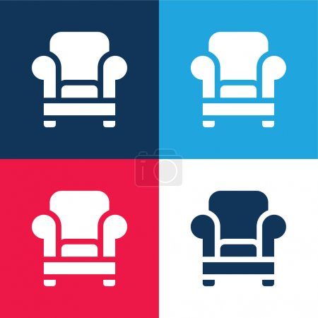 Illustration for Armchair blue and red four color minimal icon set - Royalty Free Image