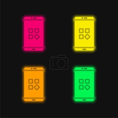 Illustration pour Applications quatre couleur brillant icône vectorielle néon - image libre de droit