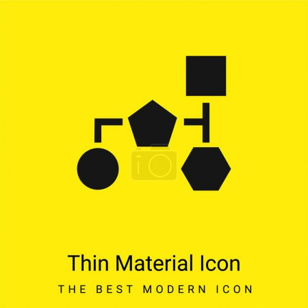 Illustration for Block Scheme Of Basic Black Geometric Shapes minimal bright yellow material icon - Royalty Free Image