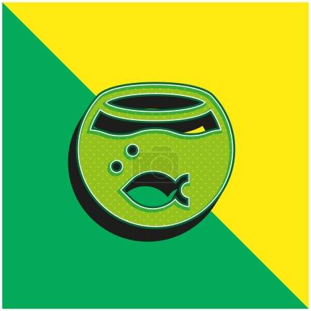 Akwarium Zielony i żółty nowoczesny ikona wektora 3D logo