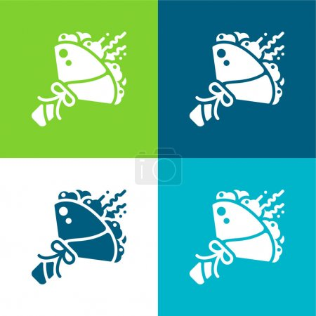 Illustration for Bouquet Flat four color minimal icon set - Royalty Free Image