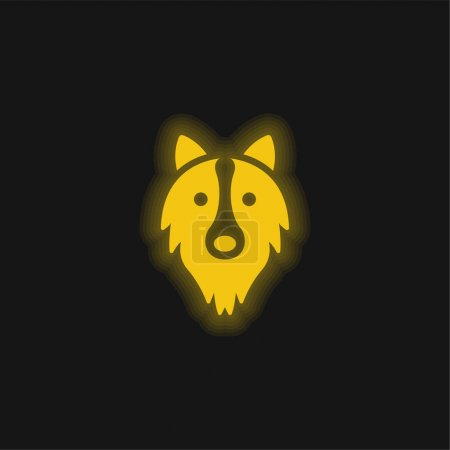 Illustration for Border Collie Head yellow glowing neon icon - Royalty Free Image
