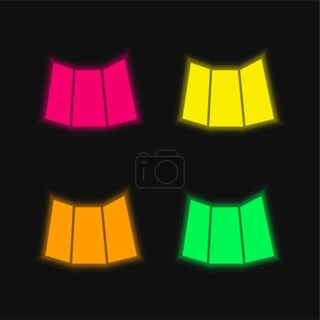 Illustration pour Papier plié imprimé noir icône vectorielle néon éclatante à quatre couleurs - image libre de droit