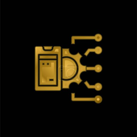 Api gold plated metalic icon or logo vector