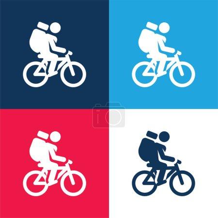 Photo pour Ensemble d'icônes minime bicyclette bleu et rouge quatre couleurs - image libre de droit