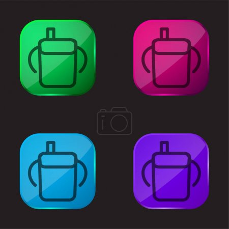 Photo pour Bébé bouteille à boire contour avec poignées latérales icône bouton en verre de quatre couleurs - image libre de droit