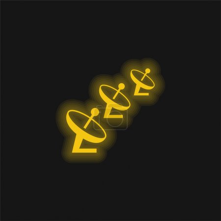 Foto de Antenas amarillo brillante icono de neón - Imagen libre de derechos