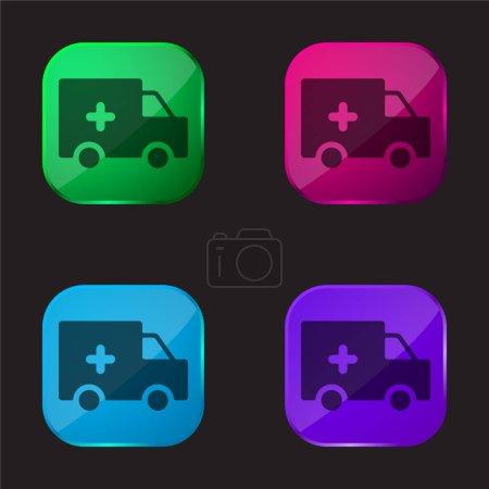 Illustration pour Ambulance Silhouette icône bouton en verre quatre couleurs - image libre de droit