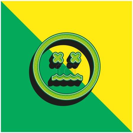 Illustration pour Emoticon Annulé Carré Visage Vert et jaune moderne icône vectorielle 3d logo - image libre de droit