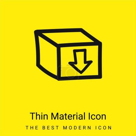 Illustration pour Boîte avec un signe fléché pointant vers le bas Symbole dessiné à la main icône matérielle jaune vif minimale - image libre de droit