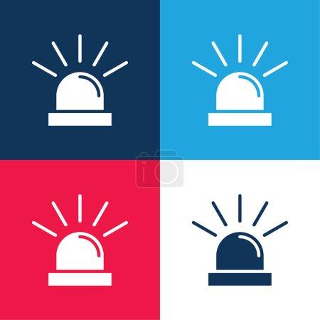 Illustration pour Ensemble d'icônes minime quatre couleurs bleu et rouge - image libre de droit