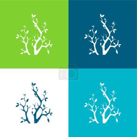 Illustration pour Branches avec feuilles Ensemble d'icônes minimal plat de quatre couleurs - image libre de droit