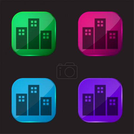 Illustration for Apartments Buildings four color glass button icon - Royalty Free Image