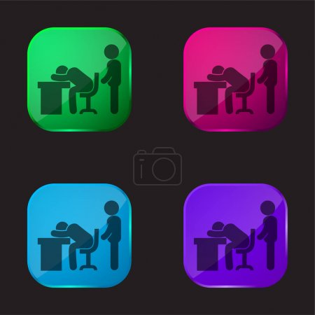 Illustration pour Patron attrapant un travailleur dormant icône bouton en verre de quatre couleurs - image libre de droit