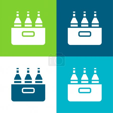 Beer Flat four color minimal icon set
