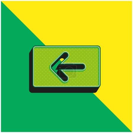 Illustration pour Backspace Key Logo vectoriel 3D moderne vert et jaune - image libre de droit