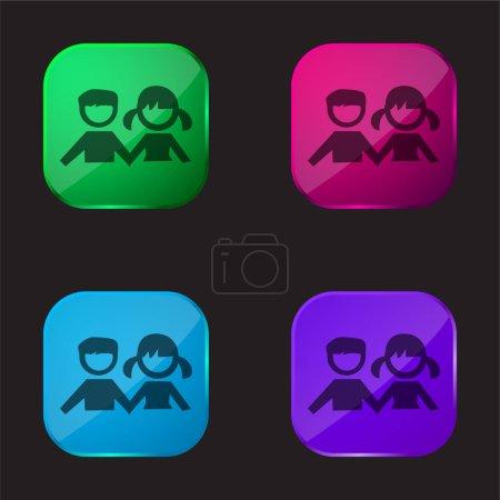 Illustration pour Garçon Et Fille Étudiants icône de bouton en verre quatre couleurs - image libre de droit