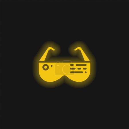 Ar Glasses yellow glowing neon icon
