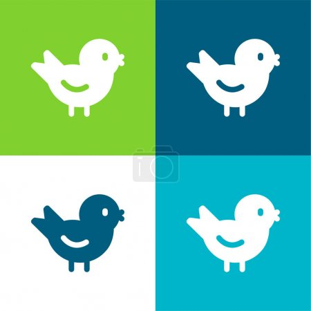 Photo for Bird Flat four color minimal icon set - Royalty Free Image