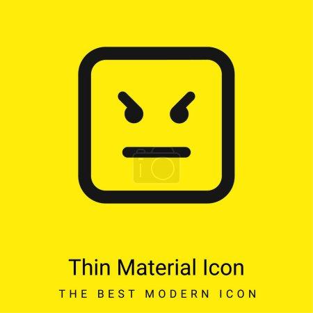 Illustration pour Angry Emoticon Square Face icône matérielle jaune vif minimale - image libre de droit