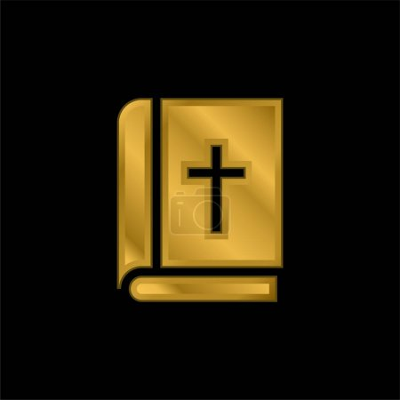 Illustration for Bible gold plated metalic icon or logo vector - Royalty Free Image
