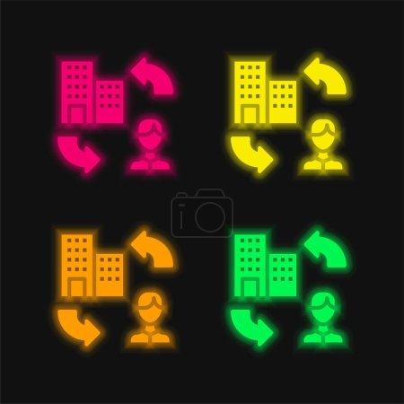 Illustration pour B2c icône vectorielle néon à quatre couleurs - image libre de droit