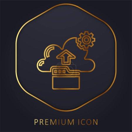 Illustration pour Sauvegarde ligne dorée logo premium ou icône - image libre de droit